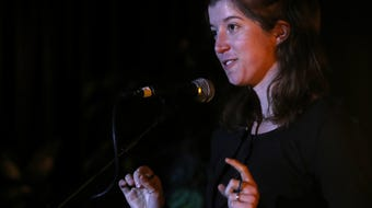 """CD Davidson-Hiers tells about a pony that helped her conquer fear at the Storytellers Night about """"Teachers and Life Lessons."""""""