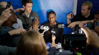 Michigan State's Jaren Jackson Jr. is a projected top-5 pick in June's NBA draft. He answers questions at NBA combine in Chicago on May 17, 2018.
