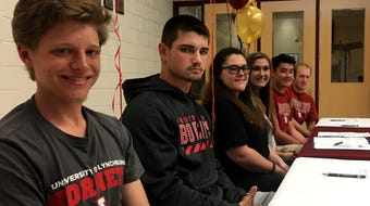 Six Stuarts Draft seniors celebrated their college choices at a ceremony Friday. Afterwards they shared their favorite high school memories.