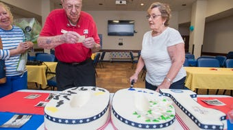 The staff and volunteers celebrated the 100th birthday of Pearl Harbor survivor and long time Red Cross volunteer Frank Emond at the Naval Hospital in Pensacola on Monday, May 21, 2018.