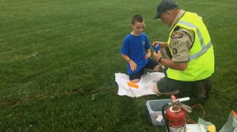 Cub Scout pack 105 shoots off their rockets at West Manheim Twp. Rec Park on Saturday.
