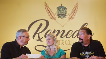 CEO of Feeding South Dakota Matt Gassen, from left, President of Pipe Stone Hannah Walkes, KBACK radio's Crash, AGE media's Garrett Gross and Remedy Brewing owner Tyler Jepperson hold a press conference to present a check to Feeding South Dakota Wednesday, June 20, at Remedy Brewing Company.