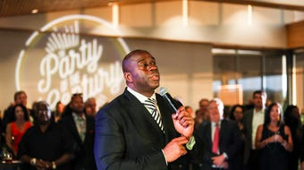 """Earvin """"Magic"""" Johnson speaks during the """"Party of the Century"""" that celebrated Methodist Le Bonheur Healthcare's 100-year anniversary."""