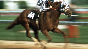 """Big Red,"" owned by Penny Chenery, began his record-setting quest for the Triple Crown at the 1973 Kentucky Derby."