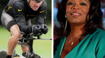 "Lance Armstrong's interview with Oprah Winfrey, taped Monday and airing Thursday, was ""emotional at times,"" and it followed an apology to the staff at the Livestrong Foundation that left some of them in tears."