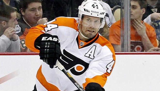 Philadelphia Flyers defenseman Kimmo Timonen has yet to play this season because of blood clots.