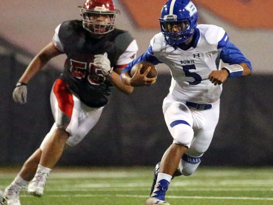 Bowie quarterback German Carrasco finds running room
