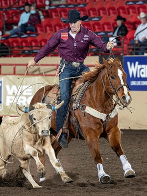 Cole Patterson ropes a steer at the Professional Rodeo Cowboys Association 2020 Clem McSpadden National Finals Steer Roping championship on Nov. 7 at the Kansas Star Arena in Mulvane.