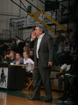 Andrew Sachs works the sidelines during a Bethany College game. He has been announced as the new Salisbury University men's basketball coach.