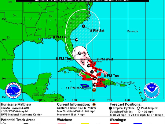 Hurricane Matthew's projected path as of 11 p.m. Oct. 3.