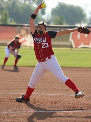 Pacelli's Brook Nagorski pitches during their game against Shiocton.  Shiocton played Pacelli in the WIAA Division 4 Semifinal softball game at UW's Goodman Diamond, Madison, Wis., June 9, 2017.