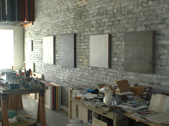 Several paintings by Privoznik hang in his studio
