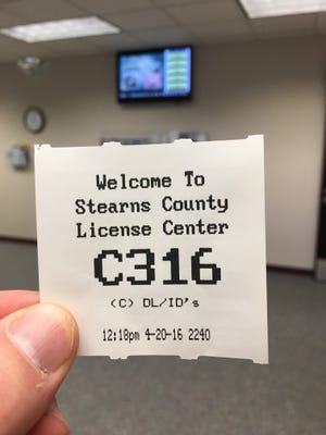 A ticket stub at the Stearns County License Center. From July 20-24, Minnesota residents won't be able to update their tabs, get a new license plate or apply for a vehicle title at Driver and Vehicle Services offices around the state. Other Stearns County License Center services will be available.