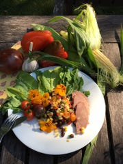 Summer Corn and Black Bean Salad with Smoked Duck