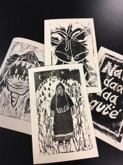Freshmen at Mescalero High School are making original linoleum block print designs for holiday cards they will sell to raise money for class activities.