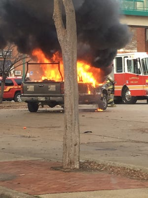 Clar ksville Fire and Clarksville Police were on the scene of a truck fire on Riverside Drive on Thursday,