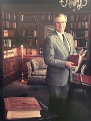 Jack French is pictured in his office at Wrigley Mansion