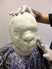 Blake French in the process of having his facial prosthesis made.