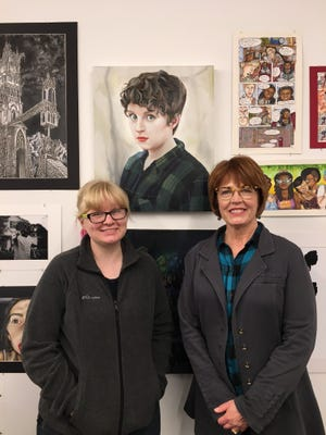 Hannah Huested and art teacher Caffy Whitney.  The painting is of her oldest sister, Lydia.