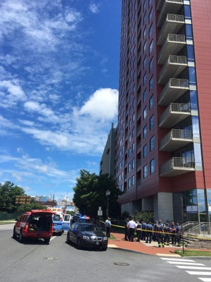 A man died after falling 24 floors from The Residences at Christina Landing in Wilmington Friday.