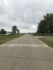 The finish line for the Newport Antique Auto Hill Climb.
