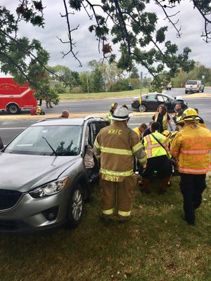 Police are on the scene of a crash at Airport Road and Commons Boulevard near New Castle.