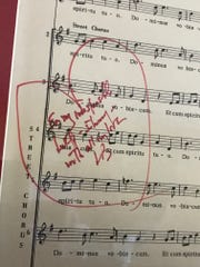 "A page from the score of Leonard Bernstein's ""Mass,"""
