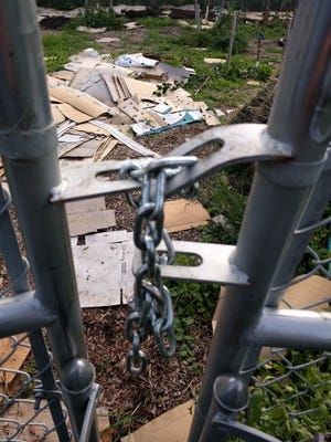 Vandals damaged a lock and fence at the Lexington Avenue urban farm in Rochester. Operators discovered the damage on Saturday, Oct. 14, 2017.