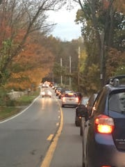 Traffic approaching the John Jay High School and John