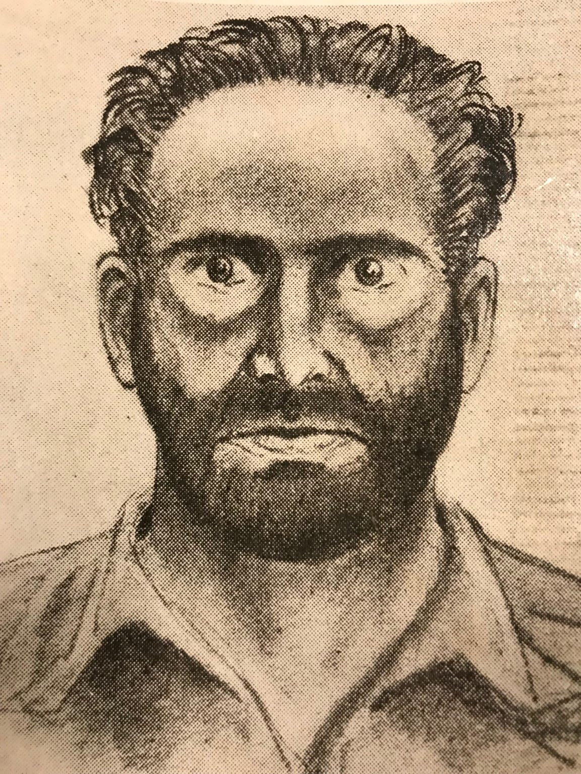 A sketch of Leslie Irvin, done after the Dec. 23, 1955 murder of W. Wesley Kerr