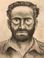 A sketch of Leslie Irvin, done after the Dec. 23, 1955 murder of W. Wesley Kerr