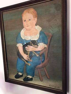 Nancy Bowings is trying to find information about the painter of this work, which is signed 'Eyster 85.' As it came from a York home, she is thinking the artist is local.