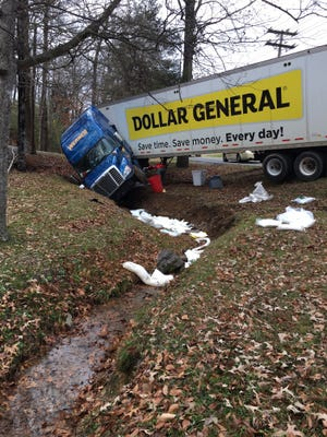 The truck crossed a lane line and landed in a creek, puncturing a diesel tank.