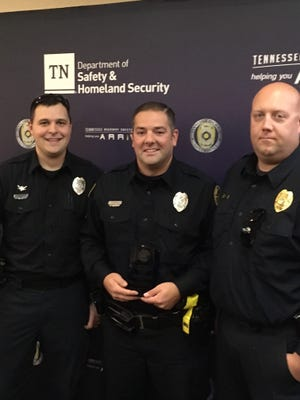 """Cpl. Stephen Wassman, Officer Jason Graves, and Sgt. Steve Berry attended the THSO awards ceremony, where Graves was honored as """"Officer of the Year"""" on Monday, Dec. 11, 2017."""