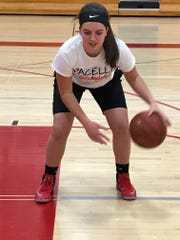 Pacelli senior Morgan Kuckkahn ranks fifth on the team in scoring at 5.7 points per game in a balanced attack for the Cardinals.