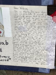 A letter from a friend of Valaree Schwab, 16, now sits at a memorial to her, two days after she was stabbed to death.