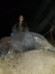 Cora Tatum, 15 at the time, killed this tremendous feral hog while hunting with her grandfather, Chip Tatum. Cora is the daughter of Joseph Tatum and has just turned 16.