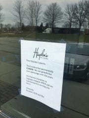 A sign at Hayden's Grill and Bar thanks customers for their business over the years.