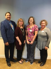 Jill Schramm, CNA, was chosen for the Service Excellence Star Award for the month of March at Felician Village. Picture, from left: Frank Soltys, president/CEO; Kay Kopenski, vice president of Health Services; Schramm; and Lisa Voda, assisted living manager.