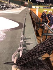 A netting line has been installed on top of both dugouts
