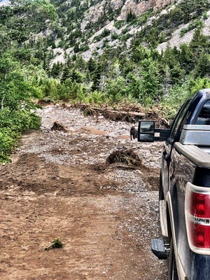 Flooding on the South Fork of the Teton wiped out the county road into the Rocky Mountains in mid-June.