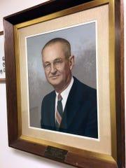 Portrait of Herschel Ward, John Ward's father, hangs inside the Tennessee School for the Deaf.