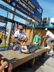 Justin Smith, 13, a student at DeLaura Middle School, shows of his catch at Port Canaveral. Smith landed a 200-plus-pound tiger shark, the second fish he ever caught in his life.