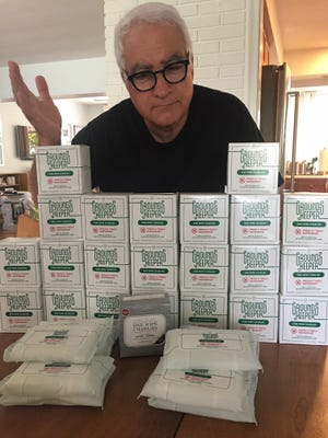 Frank Cerabino with his supply of flushable wipes.
