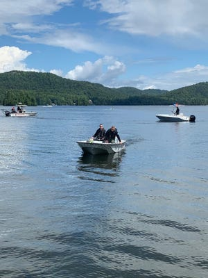 Authorities on Fourth Lake following a drowning.