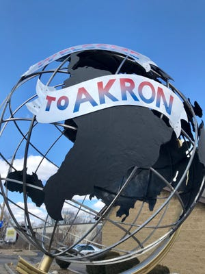 One example of public art in Akron is a globe by John Comunale that was commissioned by the city in 2018 and welcomes motorists to Akron on Canton Road.