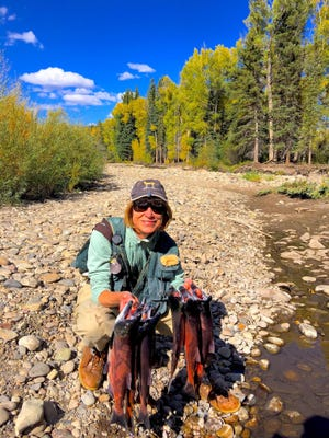 Taylor Norton with a stringer of hard fighting, great eating Kokanee salmon caught during the annual late summer/fall run near Gunnison, Colorado.