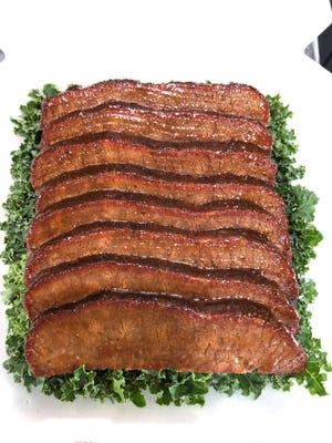 Matt Barber's prize-winning beef brisket as presented in 2019 to judges at the 40th annual American Royal World Series of Barbecue. The 2020 contest has been canceled because of the coronavirus pandemic.