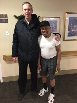 Bernie Schultz and Lionel Reinford the last time Schultz saw him at a nursing home in Canton earlier this year.