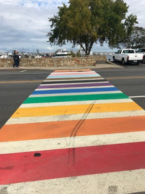 Police are investigating vandalism to the new Plymouth Pride rainbow crosswalk. A number of black tire marks have appeared on the surface of the crosswalk, and in a direction that seems to suggest a deliberate attempt to deface the new addition to the waterfront.